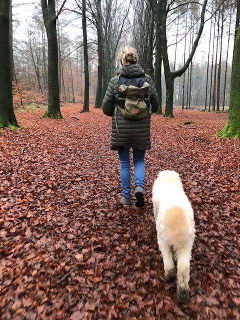 Overganscoach en overgangsconsulent Nathalie Wichink wandelt met haar hond in het bos in Raalte in Overijssel
